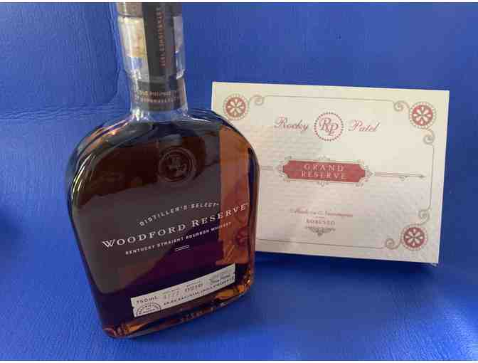 Woodford Reserve Bourbon Whiskey and Box of 10 Rocky Patel Grand Reserve Robusto Cigars