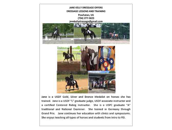 2 dressage lessons with Jane Kelly