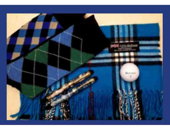 100% Cashmere Scarf (Blue Plaid), 2 Pair of Socks, 2 Luxury Pens + 2 Night Vacation - Photo 1