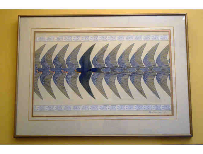 Radeux Framed Watercolor 'Barn Swallow'