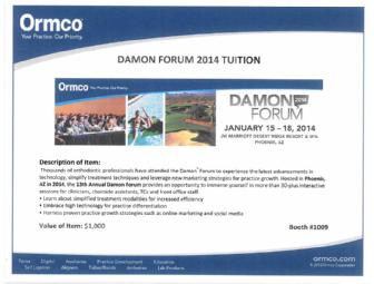 Ormco Damon Forum 2014 Tuition