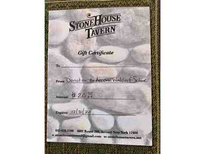 $20 gift certificate to Stone House Tavern in Accord, NY