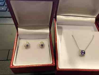 Tanzanite and Diamond Pendant and Earrings