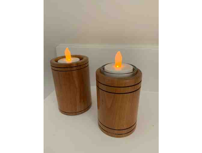 Handcrafted Wooden Bowl and Candle Holders