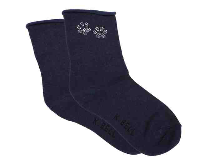 Rhinestone Paw Print Crew Socks - Photo 1