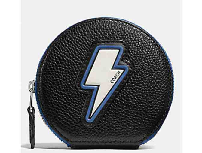 COACH COIN CASE IN PEBBLE LEATHER WITH LIGHTNING BOLT - NWT - Photo 1