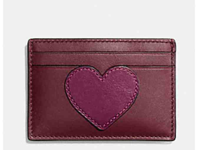 COACH HEART FLAT CARD CASE IN REFINED CALF LEATHER - NWT - Photo 1