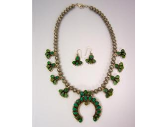 Turquoise Squash Blossom Necklace and Matching Earrings