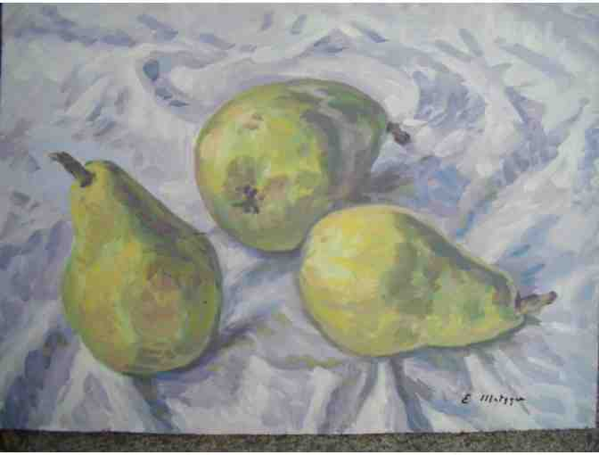 A4  oil on board 3 pears by the late NYC artist Evelyn Metzger