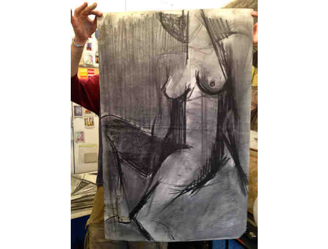 Female Nude charcoal on Italian Fabriano Paper by late NYC artist