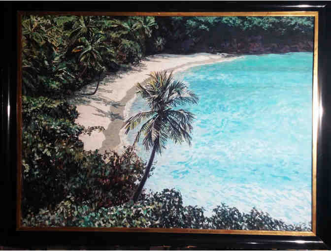 aerial tropical seascape large oil on board original frame
