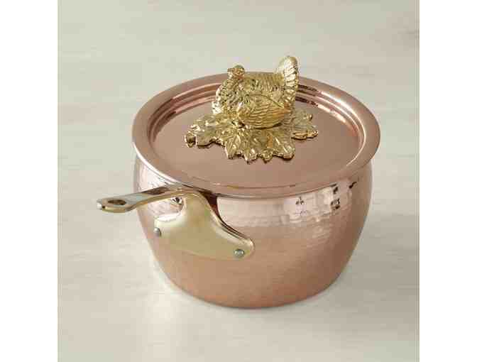 Ruffoni Historia Copper Covered Saucepan with Turkey Finial, 2 1/2-Qt.