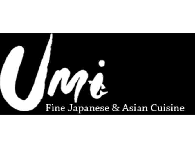 $100 Gift Card to Umi Fine Japanese & Asian Cuisine of Waltham