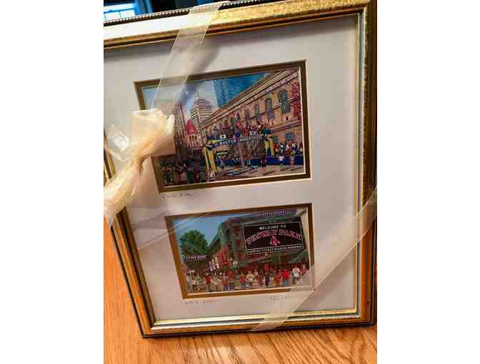 Framed, Signed Artwork: Fenway Park & Boston Marathon Finish Line