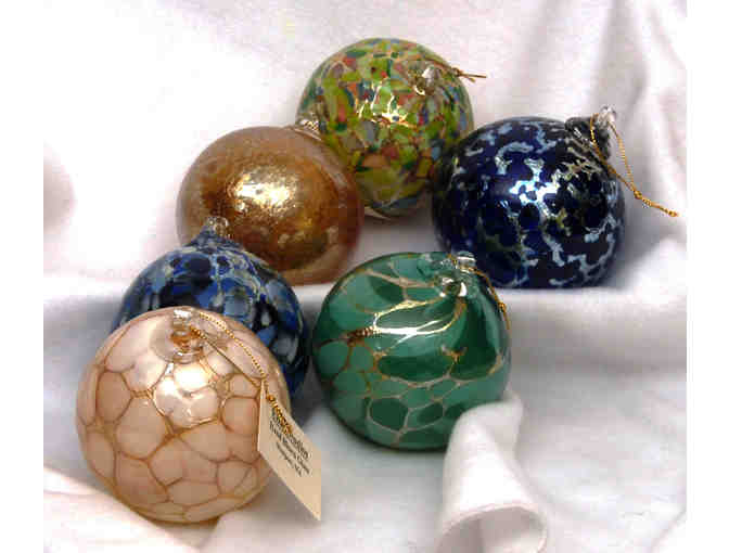 6 Blown Glass Gilded Round Ornaments (Elias Studios)