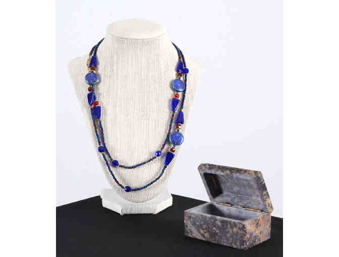 Cloisonne and Glass Bead Necklace with Soapstone Box