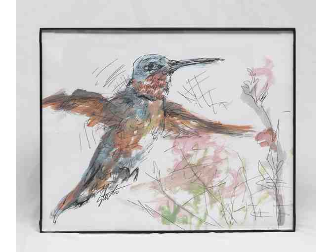 Male Ruby Throated Hummingbird by Steve Everett in metallic watercolor, pen & ink