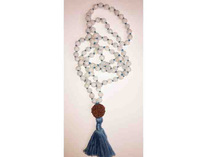 108 Japa Mala ~ White Moonstone with a Babaji Rudraksha bead, hand-knotted w/blue thread.