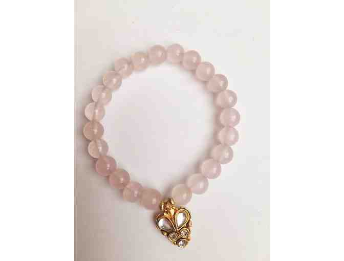 Wrist Mala Made From Rose Quartz From Divine Mother's Mala & Jeweled Charm