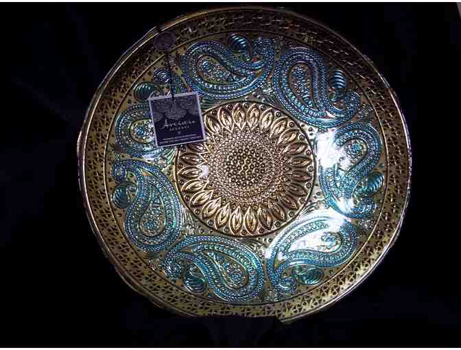 Artistic Accents Genuine Silver & Glass Decorative Bowl made in Turkey