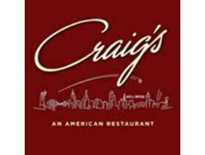 $175 Dining Credit at West Hollywood Hotspot Craig's - Photo 1