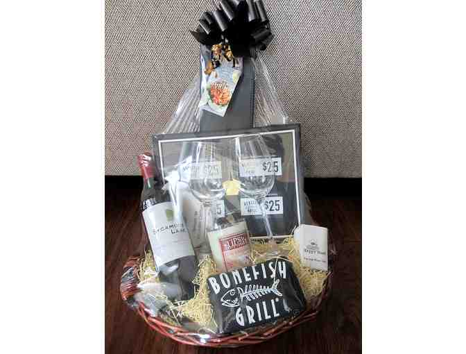 Bonefish Grill Gift Basket $100 in Dinner Coupons Plus Bottle of Wine,  Glasses and more - Photo 1