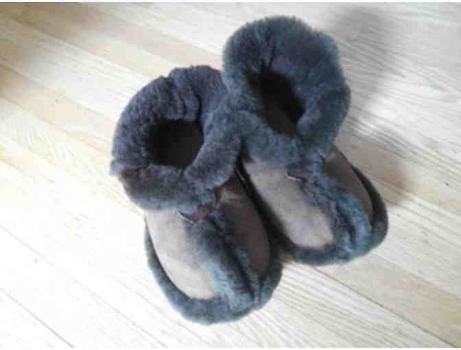 Cozy Handmade Sheepskin Slippers, Chocolate Color