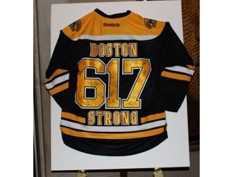 'Boston Strong 617' Boston Bruins Jersey autographed by team