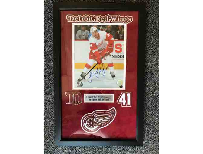Framed, autographed Photo Collage of Red Wings player Luke Glendening