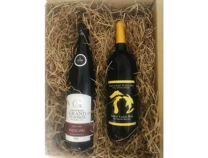 2 Bri'oni Goblets with 2 bottles of Michigan wine