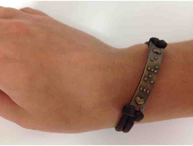 Bronze 'Love' Bracelet in Braille
