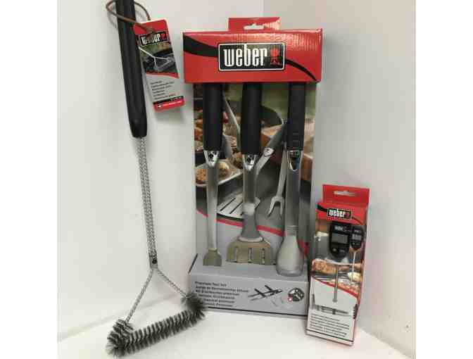 Weber Grilling Tool Set, Instant-Read Thermometer & Grill Brush