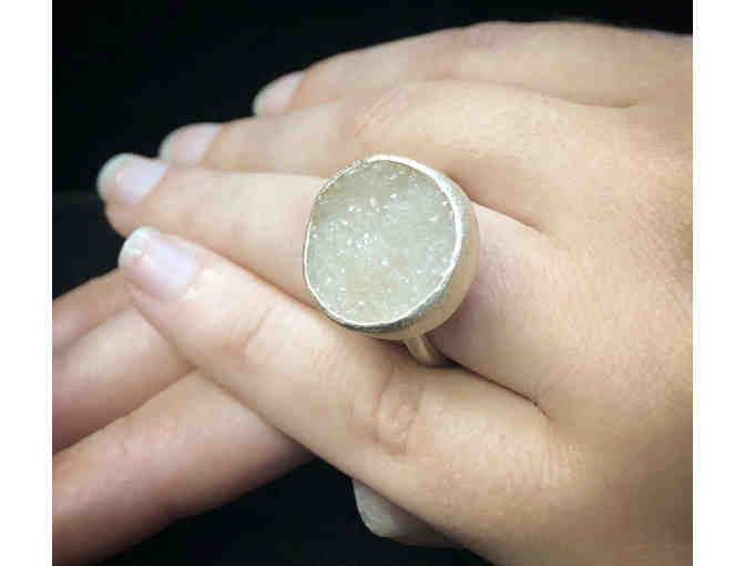 Sterling White Druzy Quartz Ring