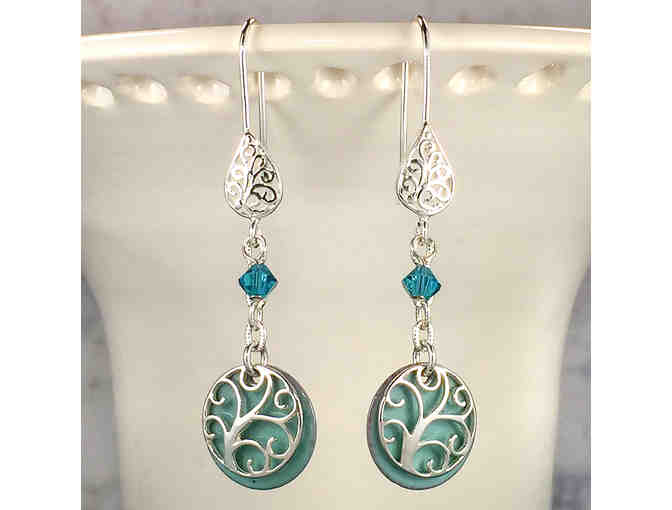 Handcrafted Artisan Sterling Filigree Earrings  with Blue Enameled Copper Charms