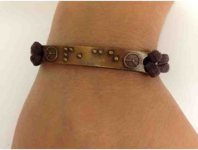 Bronze 'Peace' Bracelet in Braille