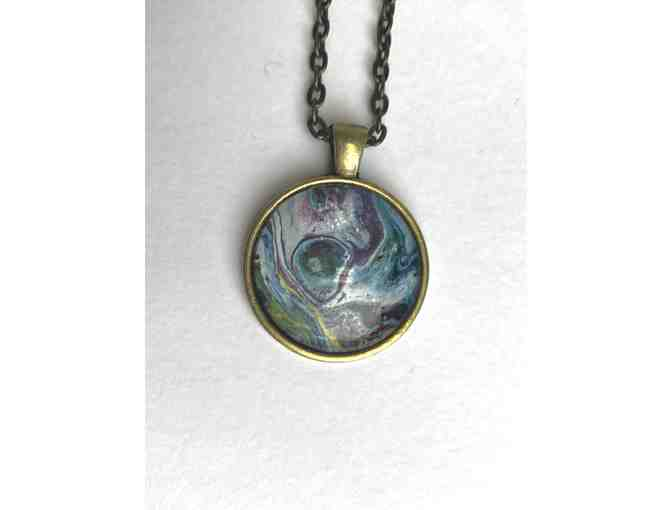 Mini Abstract Painting Necklace in Round Frame
