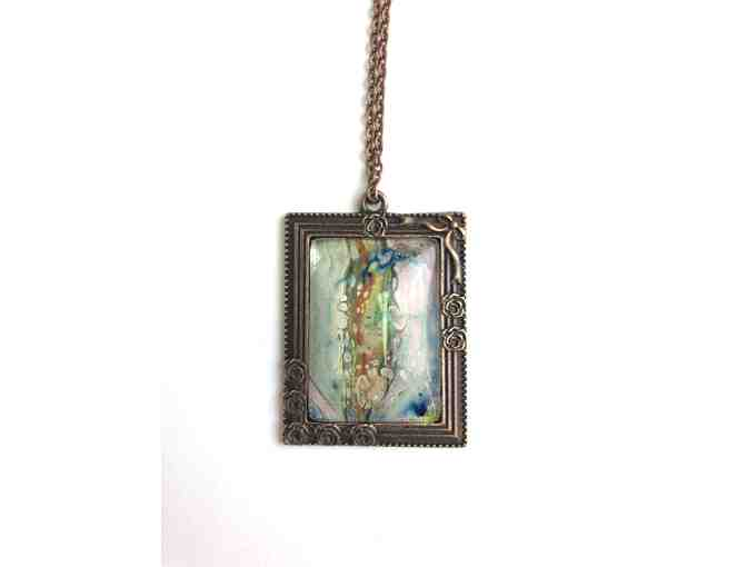 Mini Abstract Painting Necklace in Multi Colors