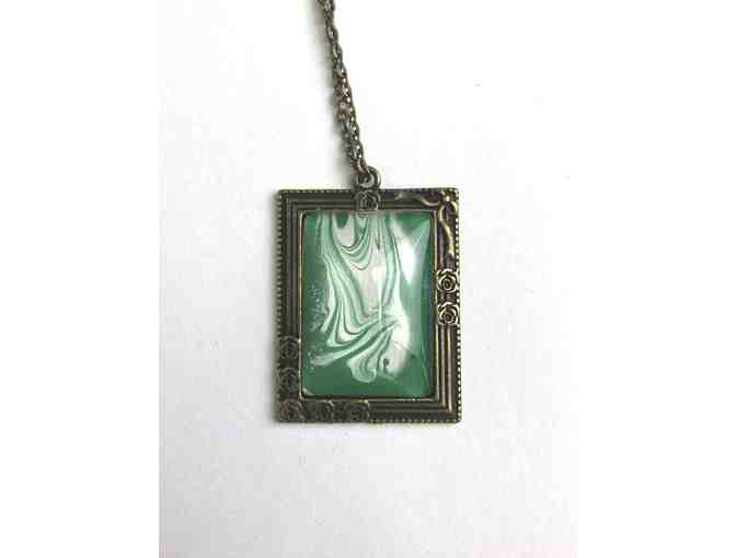Mini Abstract Painting Necklace in Green