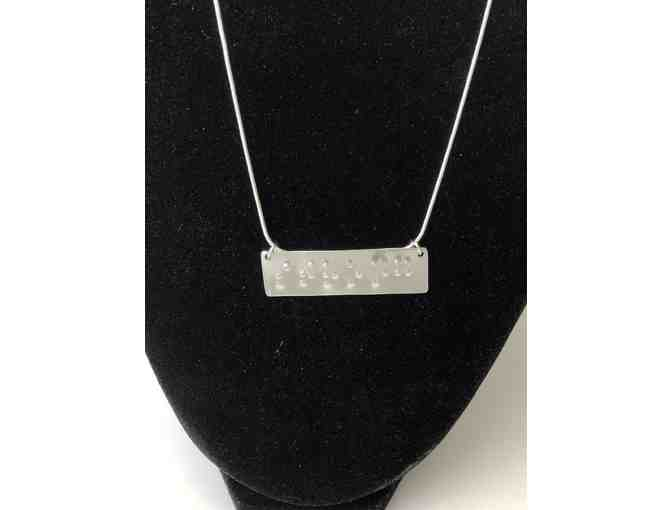 Handmade Inspirational Necklace with 'Strong' Written in Braille