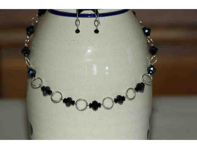 Black Beaded Chain Necklace w/Ribbon Chain, matching Bracelet and Earrings