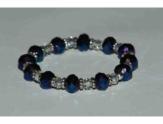 Beaded Bracelet in Blue and White Colors