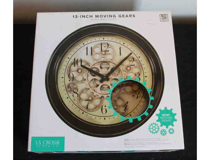 13-Inch Moving Gears Black Wall Clock - Photo 1