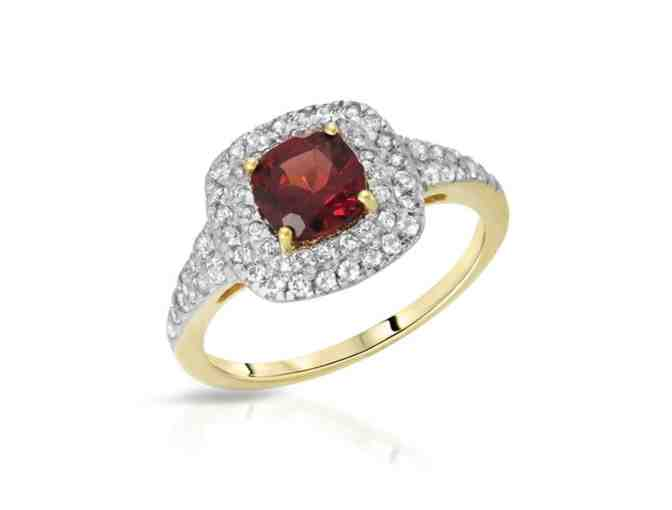 Garnet and White Topaz Ring in Yellow Gold