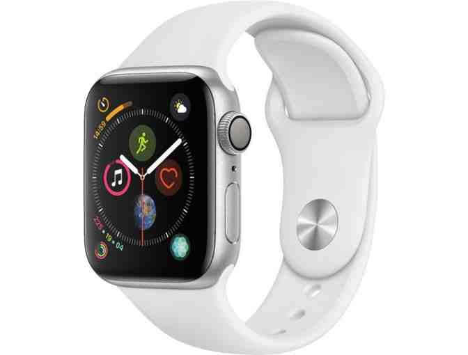Apple Watch Series 4 in Silver/White Sports Band with GPS - Photo 1