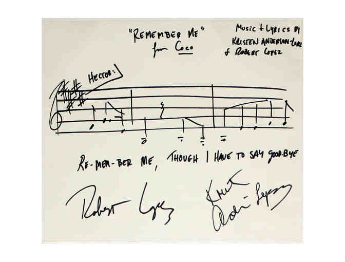 Signed 'Remember Me' musical phrase from Coco