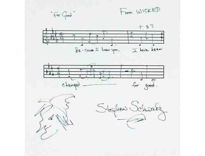 Wicked Musical Phrase Handwritten and Signed by Stephen Schwartz