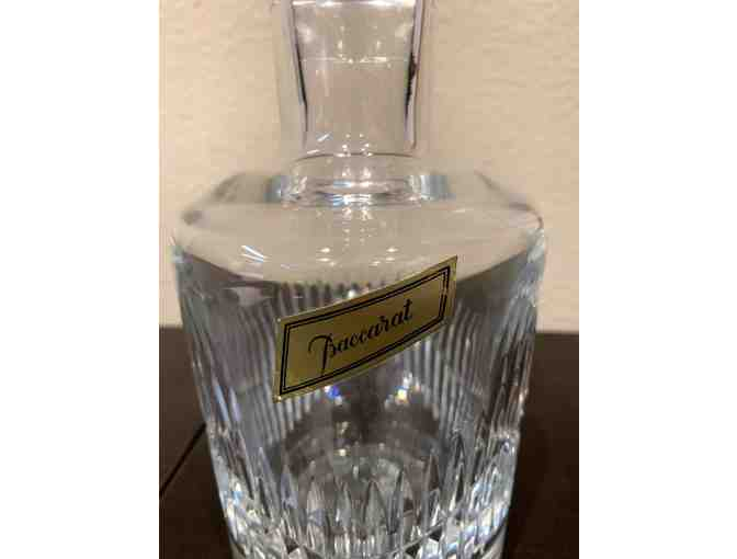Baccarat Signed French Crystal Decanter with Original Label Still Affixed.
