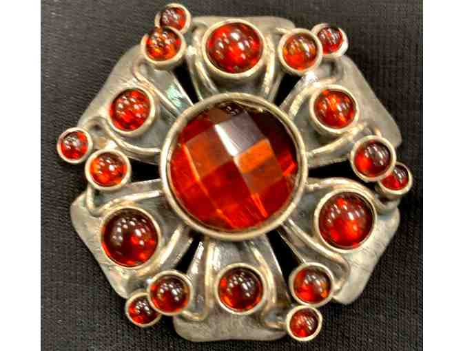 Vintage Sterling Silver Flower Brooch Pin/Pendant with Red Stones
