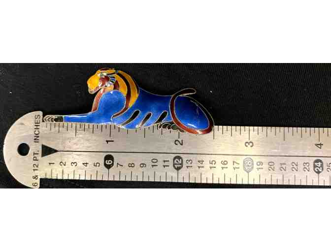 Sterling Silver Lion Brooch Pin with Colorful Painted Enamel