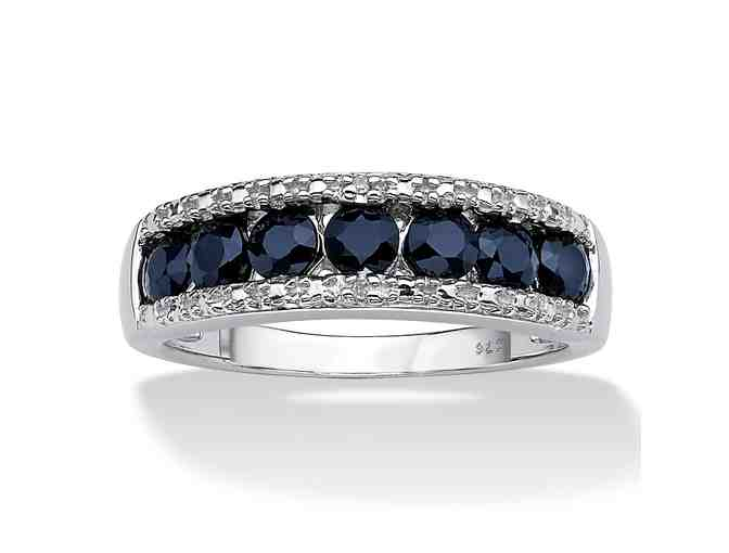 1.05 TCW Genuine Round Blue Sapphire And Diamond Accent Ring- Value $230